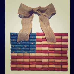 WINE CORK AMERICAN FLAG Wall Decor with Burlap Bow